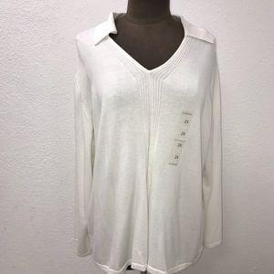 NWOT Liz Claiborne White Collar Light Sweater Sz2X